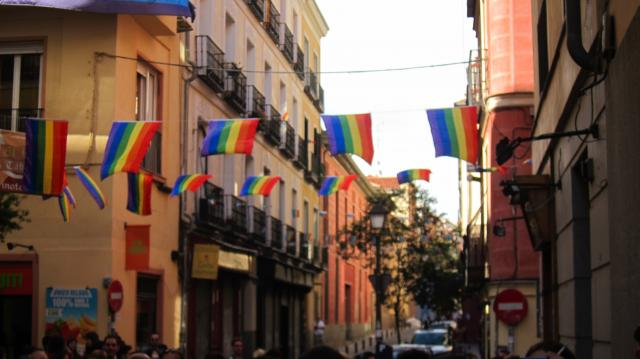 Rainbow flags during gay pride in Chueca