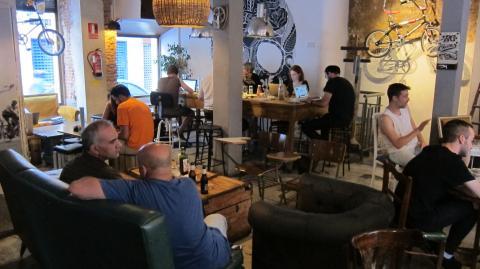 La bicicleta café cool bar in Malasaña, Plaza San Ildefonso, 9, Madrd