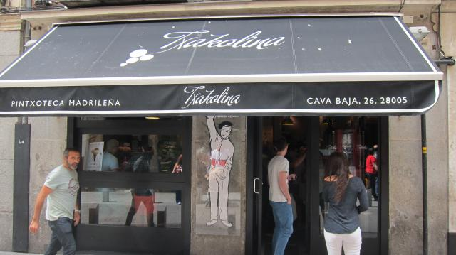 Outside the Txakolina in La Latina, Calle Cava Baja 26, Madrid