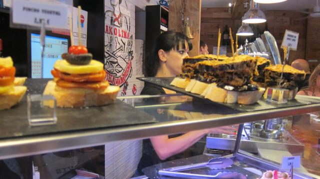 The pintxos on display at the Txakolina in La Latina, Calle Cava Baja 26, Madrid