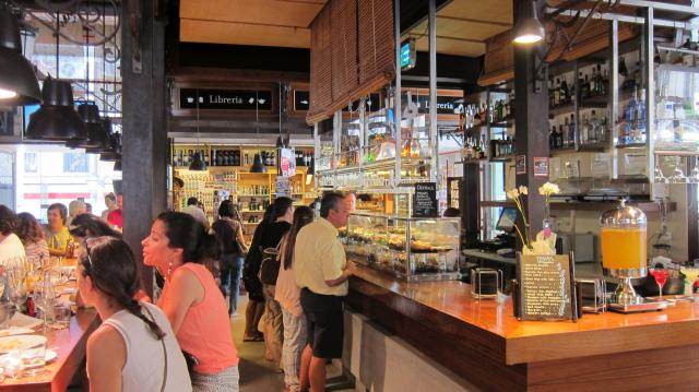 Drinking at the Mercado de San Miguel