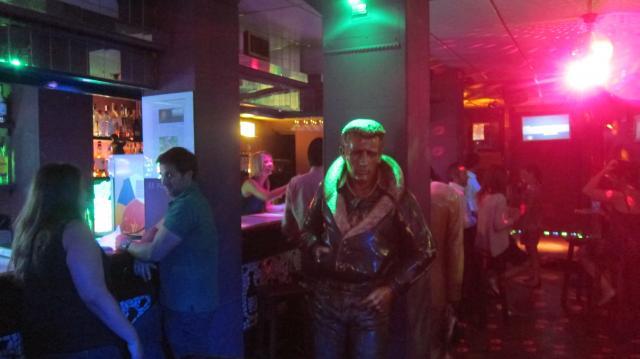 Fly dude in  50's Chevrolet in Laser Karaoke, Calle de las huertas, Madrid