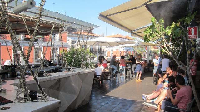 The terrace at Mercado San Antón. Calle de Augusto Figueroa, 24, Madrid, Spain