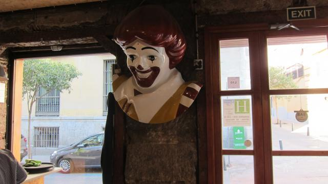 Ronald McDonald head at the Zombie Bar in Malasaña, Calle del Pez, 7, Madrid