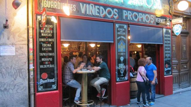 Outside the Bodega de la Ardosa pub in Calle Colón, 13, Madrid