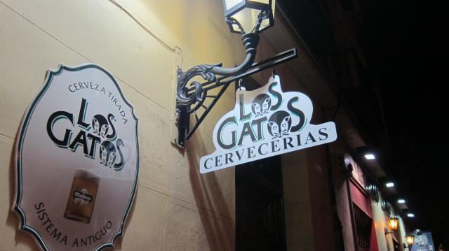 The sign at Los Gatos bar in Calle de Jesús, 2, Madrid